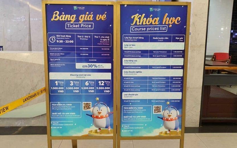 Bảng giá vé sân trượt băng Vincom Ice Rink