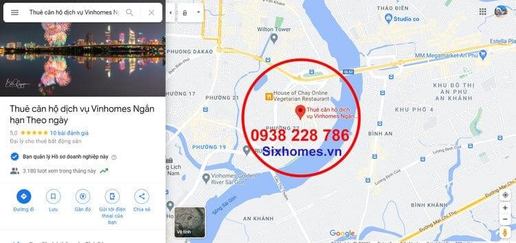 Vị trí thuê căn hộ dịch vụ Vinhomes ngắn hạn theo ngày